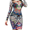 2016 Sexy Women Tribal Tattoo Print Mesh Bodycon Dress Women Long Sleeve Multi Color Retro Mesh Club dresses