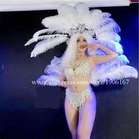 New Design DS Women Feather Party Evening Dress Stage Performance Models Ballroom Bikini Feather Fan Masquerade Cosplay Clothes