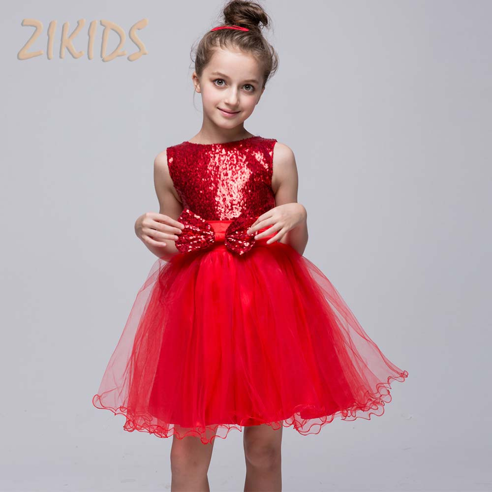 Girl Dresses for Weddings Party Sequined Ball Gown Princess Dress with Sleeveless Girl Kids Spring Clothes (10 Colors) geckoistail 2017 new fashional women jacket thick hooded outwear medium long style warm winter coat women plus size parkas