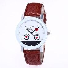 Мода Любовь корзину узор белый сплав Циферблат 20 мм коричневый кожаный ремешок дамы пара простой кварцевые часы Для женщин часы c407
