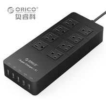 ORICO HPC-8A5U-US-BK Family Size 8 Outlet Surge Protector Power Strip with 5 Port 40W USB Charger for iPhone 6s/6/6 plus (Black)