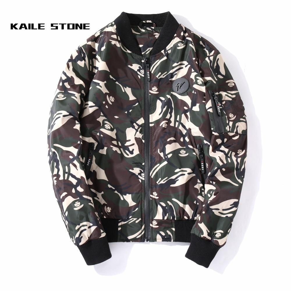 De Masculina Hombres Abrigos Alta La Camuflaje Chaqueta Militar Verde  Impreso Chaquetas Del Vuelo Outwear Calidad ... b1b90b3698a