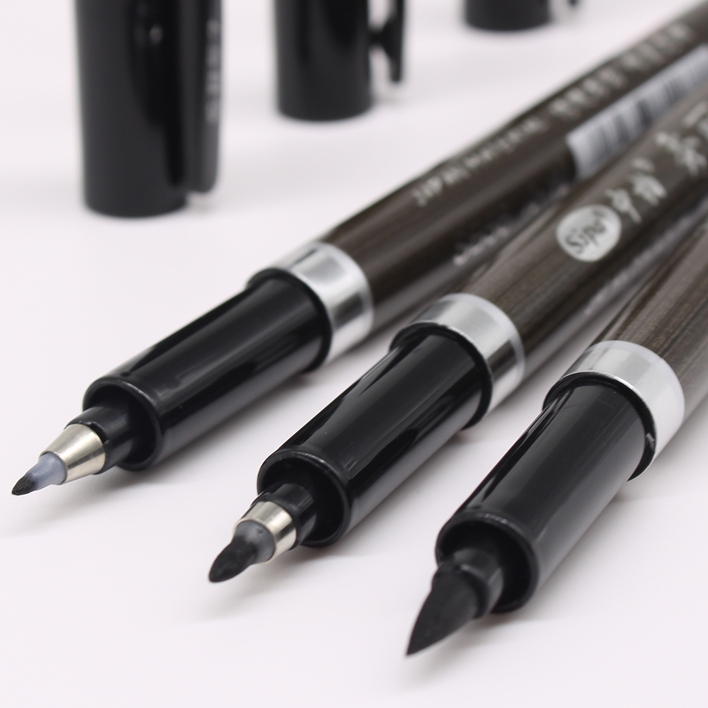 3PCS/set Brush Pen Calligraphy Pen  Chinese Words Learning Stationery StudentArt DrawingMarker Pens School Supplies