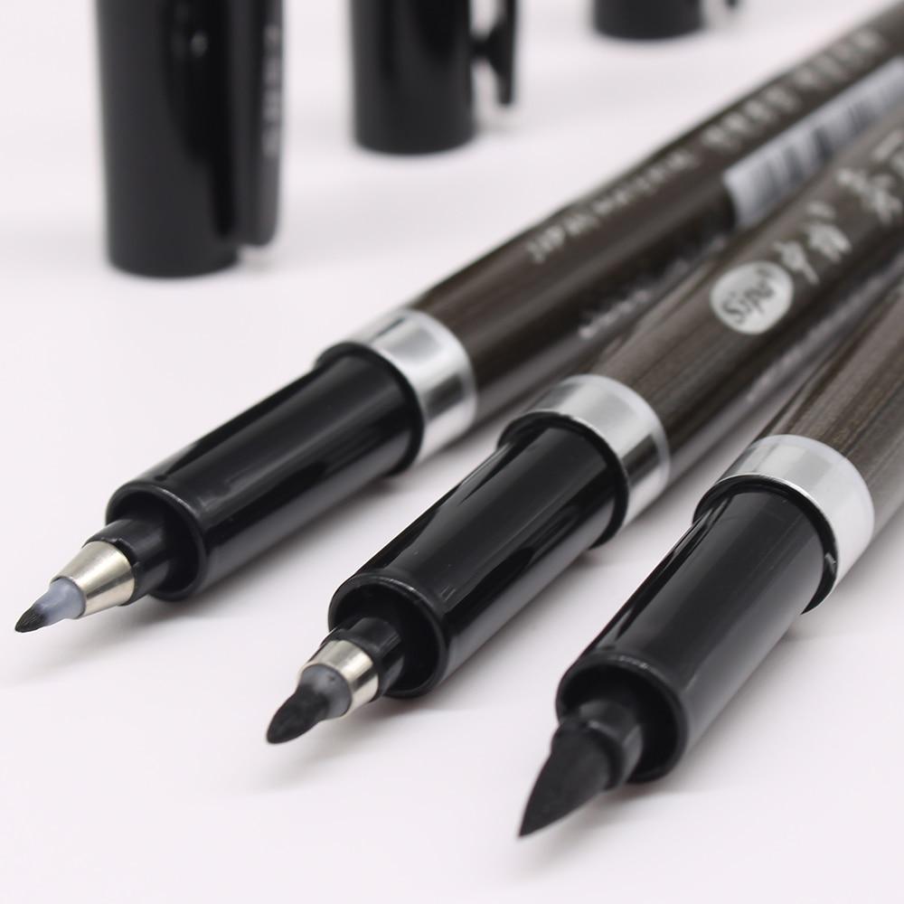 3PCS/set Brush Pen Calligraphy Pen  Chinese Words Learning Stationery StudentArt DrawingMarker Pens School Supplies