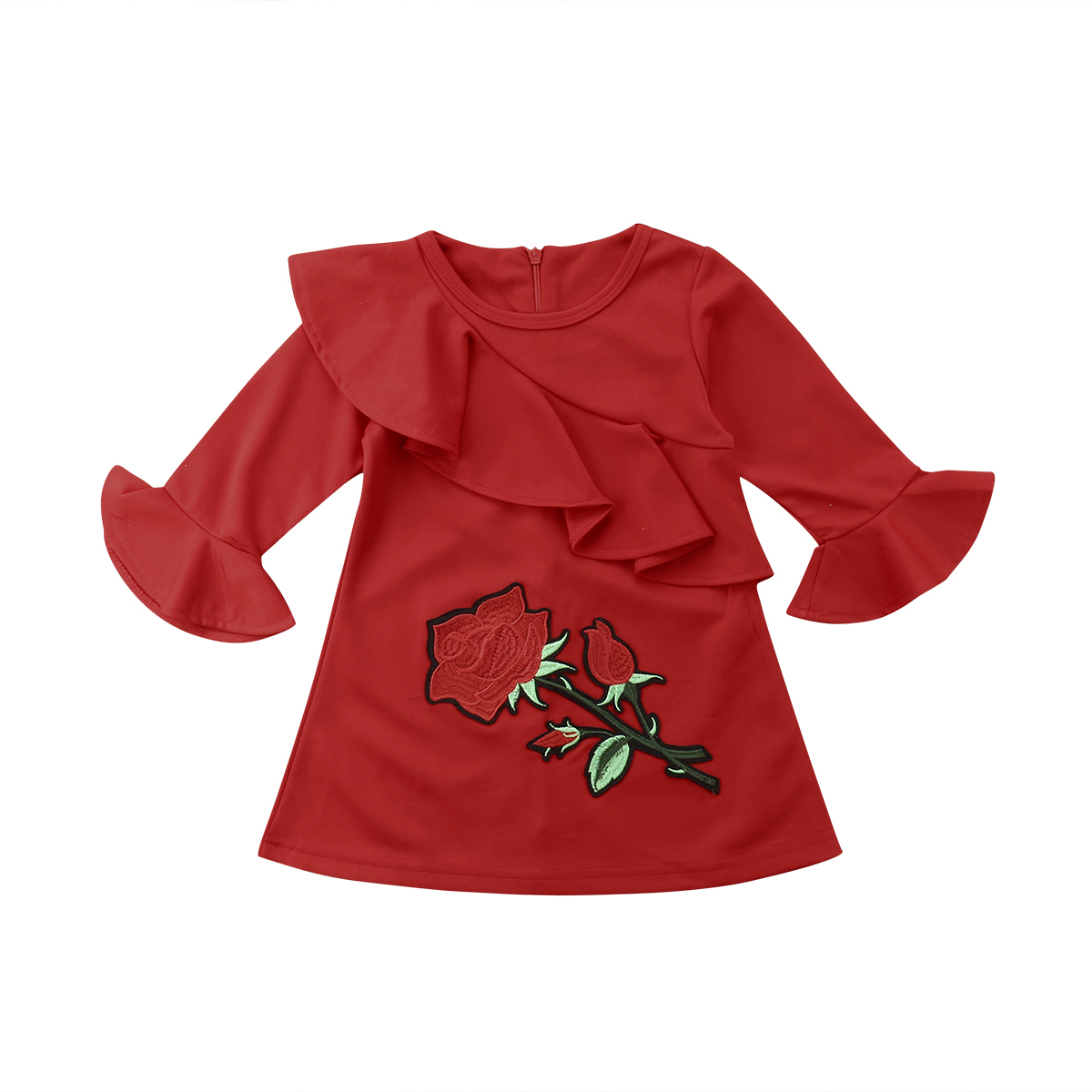 Christmas Kids Baby Girl Clothes Embroidery Flower Ruffle