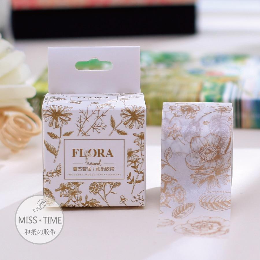 Scrapbook paper aliexpress - Japanese Washi Masking Tape Craft Gold Flower Scrapbook Paper Sticker 30mm 10m Adesivo Decorative Scotch Tape Kawaii Papeleria