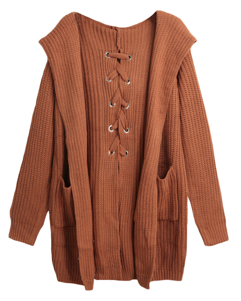 Online Shop Winter Women Long Hooded Cardigan Sweater Lace Up Back ...