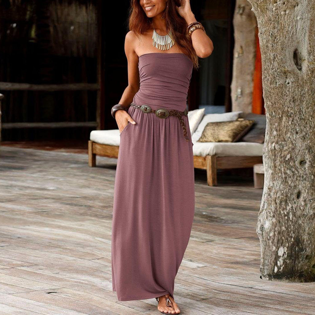 Womens Boho Dress Bandeau Holiday Off Shoulder Strapless Long Dress Feminine Ladies Casual Summer Solid