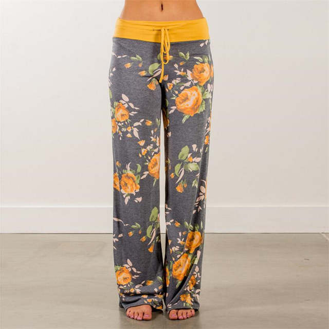 0342453acd9 Causal Women New Autumn Floral Printed Pants Drawstring Wide Leg Pants  Loose Straight Trousers Long Female