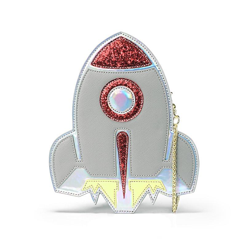 New Fashion personality cute unique rocket shape laser mini flap shoulder bag clutch wallet phone package