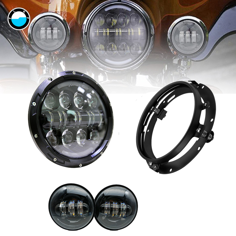 7 inch Headlight 80W Round LED 4.5 LED Fog Light Passing Lamps & 7 Mounting Bracket fit For Motorcycle.