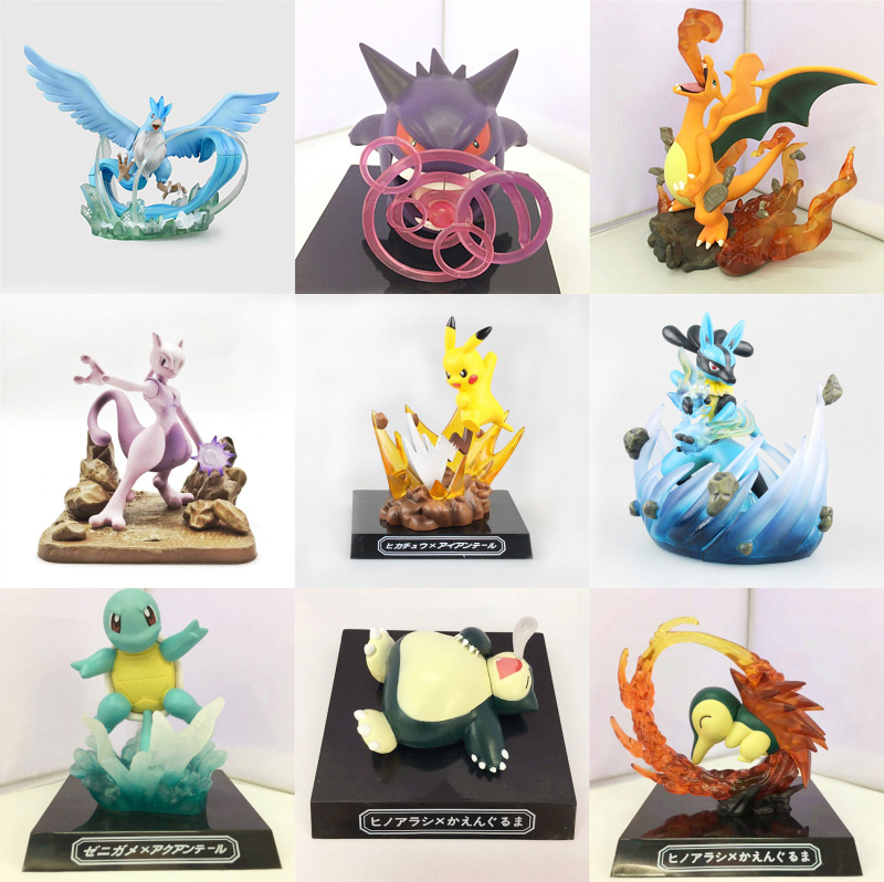 Anime Cartoon Pikachu Articuno Gengar Charizard Mewtwo Lucario Squirtle Cyndaquil Snorlax PVC Figure Collectible Model Toy 10cm cartoon pvc figure toy nendoroid ash ketchum zenigame charmander bulbasaur kawaii pikachu anime collectible model toys
