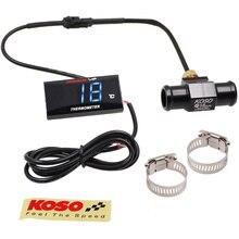 KOSO אופנוע מדחום עבור 0 ~ 120 תואר צלזיוס אוניברסלי דיגיטלי Moto טמפרטורת מים מד עם חיישן & מתאם