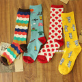 free shipping Ichiban US cotton socks woven flowers cartoon illustration of retro boots socks / piles of socks short socks creat