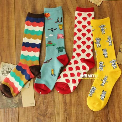 free shipping Ichiban US cotton socks woven flowers cartoon illustration of retro boots socks / piles of socks short socks creat