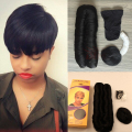 Hot 28 pieces Super Short Hair Weave Virgin Bump with Top Closure and Shower Cap for Black Woman 4 inches Short Human Pixie Hair