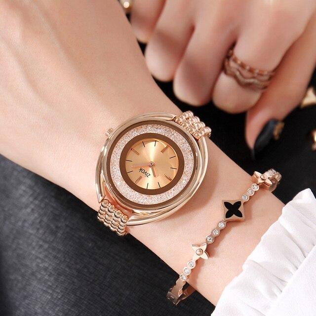 zivok Luxury Women Bracelet Watches Brand Fashion Rose Gold Quartz Lovers Wrist