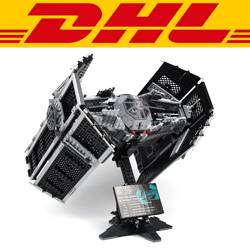 2018 New 1242Pcs Star Wars Vader's TIE Advanced Fighter Model Building Kit Blocks Bricks Set Toy For Children Figures Gift 10175 dhl lepin 05055 star series military war the rogue one usc vader tie advanced fighter compatible 10175 building bricks block toy