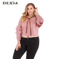 DEXIA Plus Size 3XL 4XL 5XL Women Tops and Blouse Ruffles Pink Turn dwon Collar Casual Cotton Autumn Women Clothes Lace Up Shirt