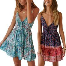 Women Ladies Summer Beach Holiday Lace Hem V Neck Boho Floral Mini Skater Dress Sundress
