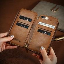 Floveme бумажник чехол для iPhone 6 6S 7 Plus из искусственной кожи в стиле ретро на молнии Чехол Сумочка для iPhone 6 6S 7 плюс Чехол оболочек сумочка
