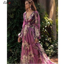 Sexy big V-neck dress lily print mopping Bohemian style beach sexy fashion party club purple Elegance summer