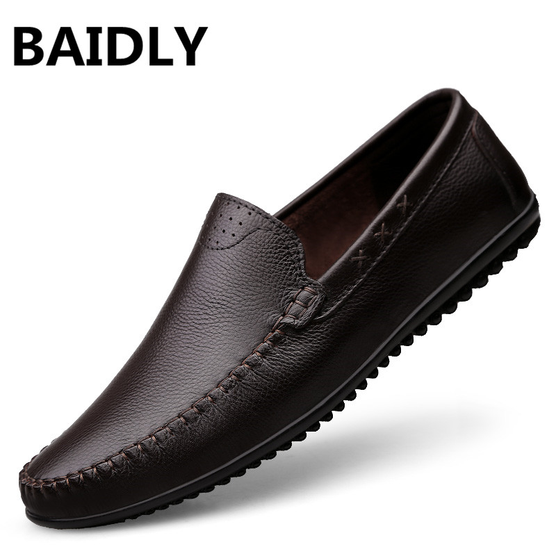 Designer De Mode Hommes Chaussures En marron black Hollow Mocassins Appartements Casual Luxe Cuir Marque Noir Hollow Baidly brown Véritable vx8wfXw