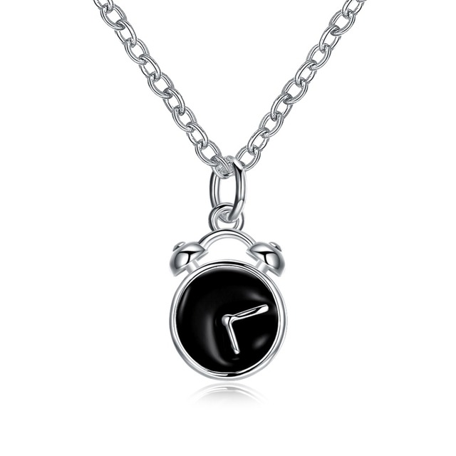 Hot new style fashion creative alarm clock pendant necklace 925 hot new style fashion creative alarm clock pendant necklace 925 sterling silver accessories personalized birthday gift aloadofball Image collections