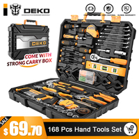 DEKO 168 Pcs Hand Tool Set General Household Hand Tool Kit with Plastic Toolbox Storage Case Socket Wrench Screwdriver Knife