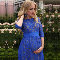 SMDPPWDBB Autumn Lace Maternity Dresses Maternity Photography Props Women Long Maxi Dress Sexy Gown O Neck Pregnancy Dress