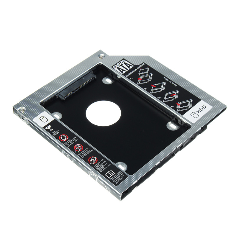 Aluminum 12.7mm HDD Caddy SSD Case Universal SATA 2nd Hard Drive Enclosure For Notebook CD/DVD-ROM Optical Bay