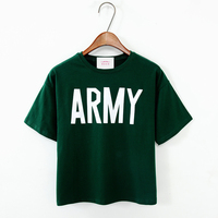 Summer 100 Cotton High Waist Solid Color Brief Design Letter Loose Short T Shirt Female Short