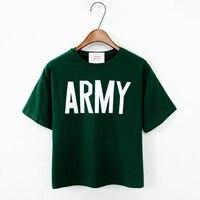 Summer 100 Cotton High Waist Solid Color Brief Design Letter Loose Short T Shirt Female Short