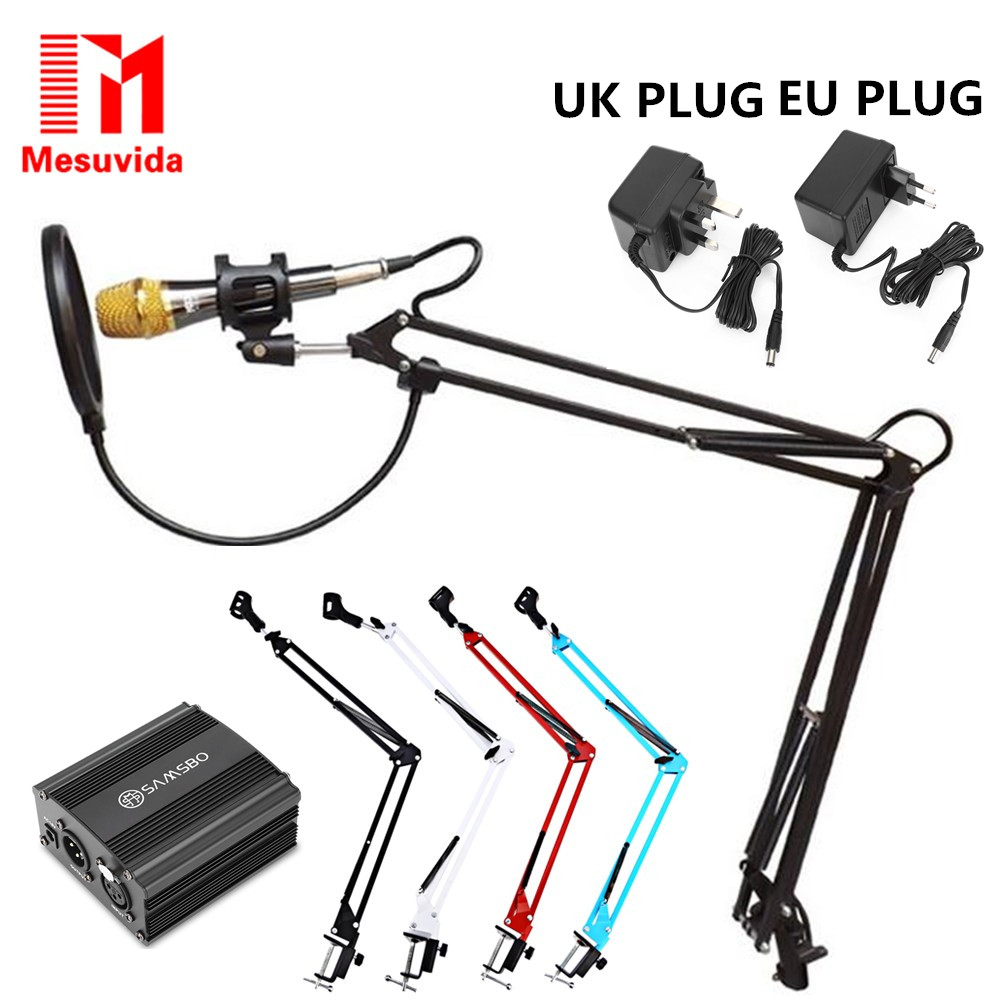 NB-35 Microphone Extendable Suspension Arm Stand Clip Holder +Table Mounting Clamp Pop Filter Windscreen Mask Shield Clip Kit