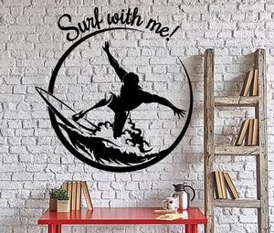 Image 1 - Aplique de vinilo para deportes de Surf, para pared, para deportes de surf, aventura, playa, dormitorio, escuela, decoración del hogar, 2CL22