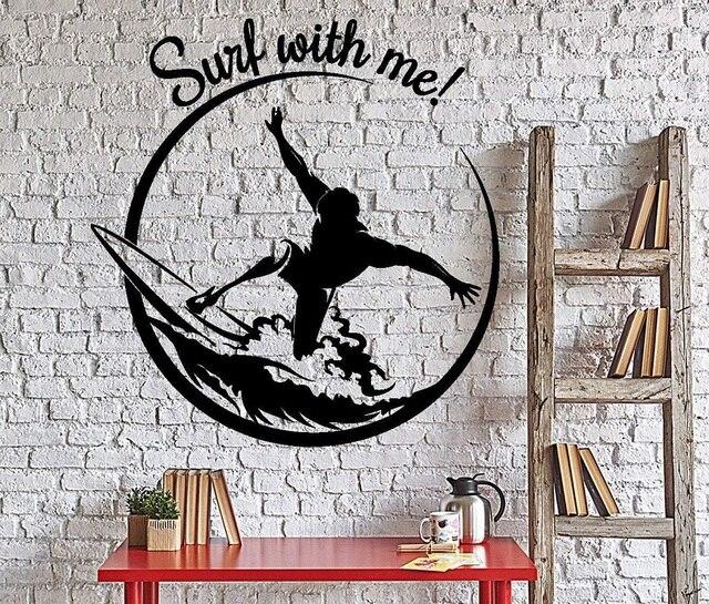Aplique de vinilo para deportes de Surf, para pared, para deportes de surf, aventura, playa, dormitorio, escuela, decoración del hogar, 2CL22