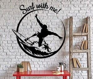 Image 1 - Applique murale en vinyle, 2CL22, sport, Surf, aventure, bord de mer, chambre dadolescent, dortoir scolaire, décoration de maison