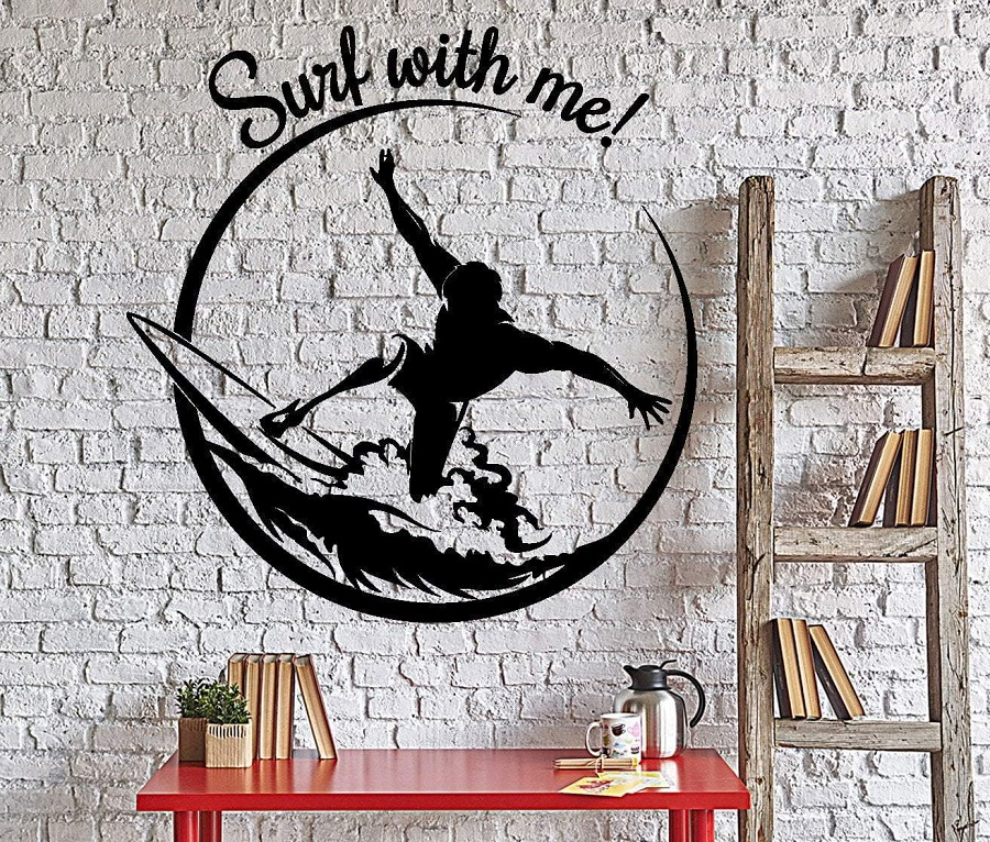 Surf sport  vinyl wall applique surf sports enthusiast adventure seaside teen bedroom school dormitory home decor applique 2CL22-in Wall Stickers from Home & Garden