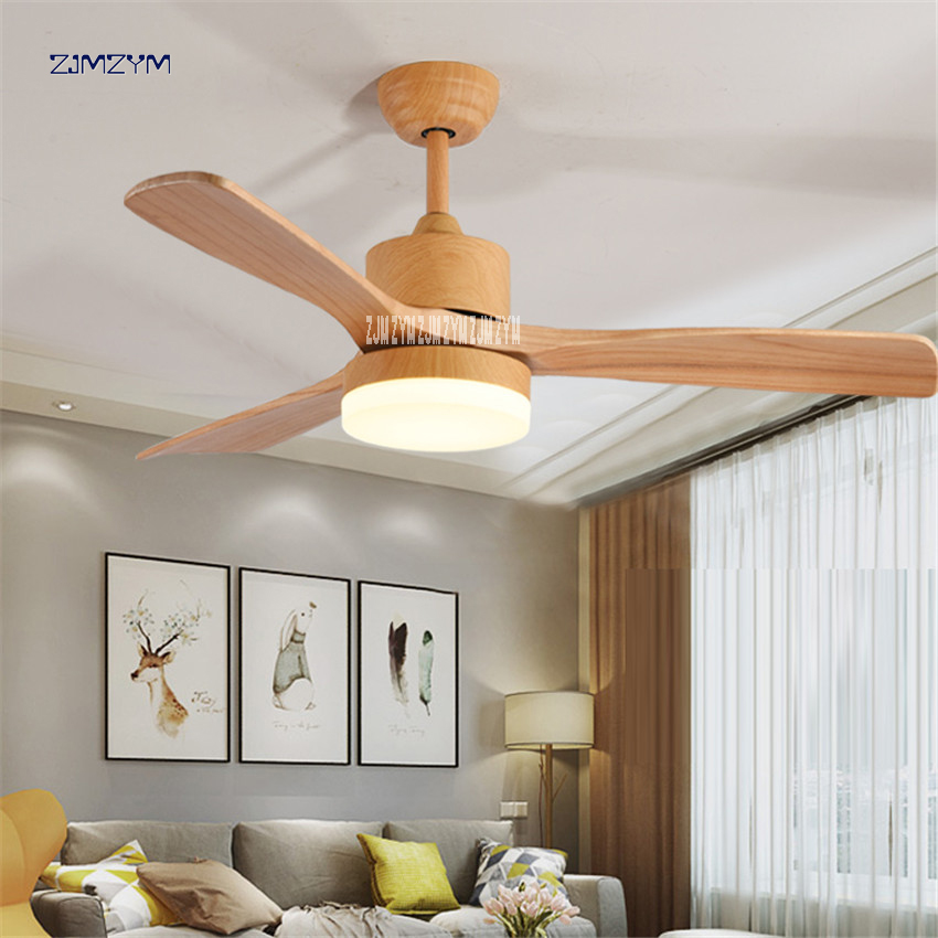 48 inch Nordic wood ceiling fan lights With Remote Control 220Volt Bedroom Ceiling Light Fan Lamp LED Bulbs 42SW 1012 Wood color