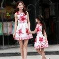 Ropa Мама É Hija 2016 Лето Мать Дочь Соответствующие Платье Цветок Мама Дочь Платье Семья Соответствующие Наряды