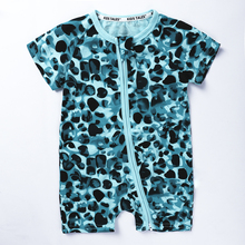 Summer New Cute leopard print Baby Rompers Boys Girls short Jumpsuit Comfortable Cotton zipper Coverall Clothing