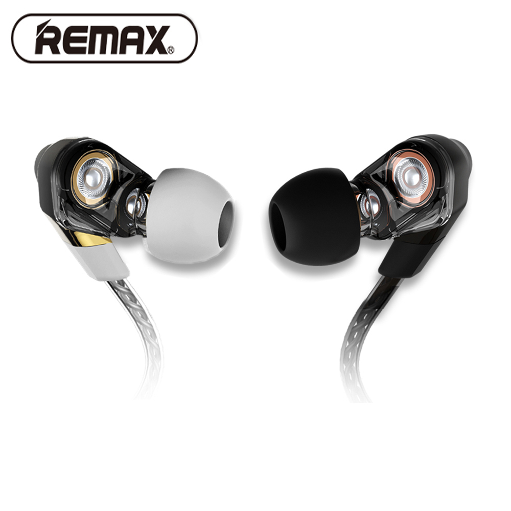 Remax 580 dual moving-coil Wired Earphone Stereo Earbuds Bass Headset with Microphone Voice Control Music for iPhone Xiaomi