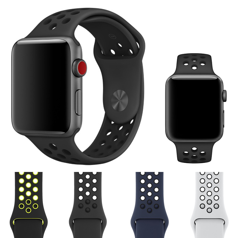 Silicon Sports Band Strap for Apple Watch 38/42mm 1:1 Original Black/Volt Black/Gray Silver iwatch watchbands black silver u shape aluminium alloy stand docking charger station holder for apple watch iwatch