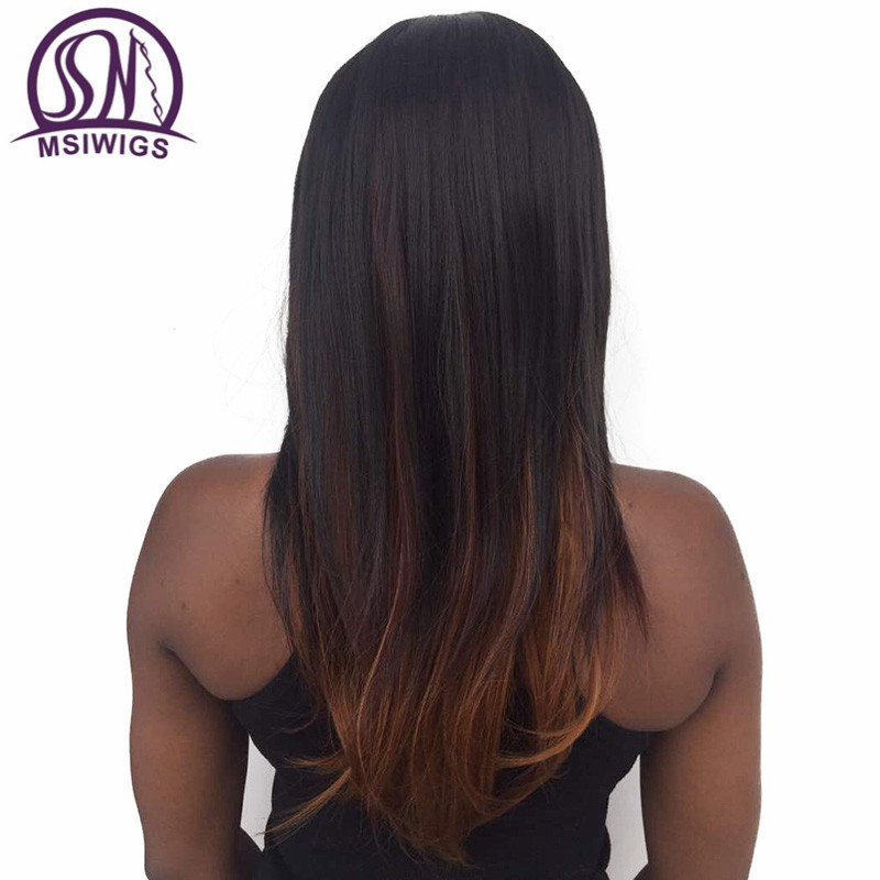 MSIWIGS Long Kinky Straight Synthetic Wigs for Black Women Heat Resistant Natural Two Tones Ombre Wig with Bangs