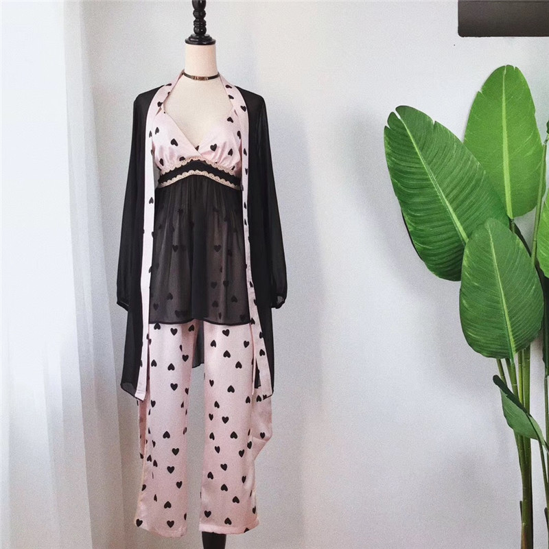 JULY'S CANÇÃO Primavera Mulher Pijamas Set 3 Peças de Pijamas de Seda Do Cetim Do Falso