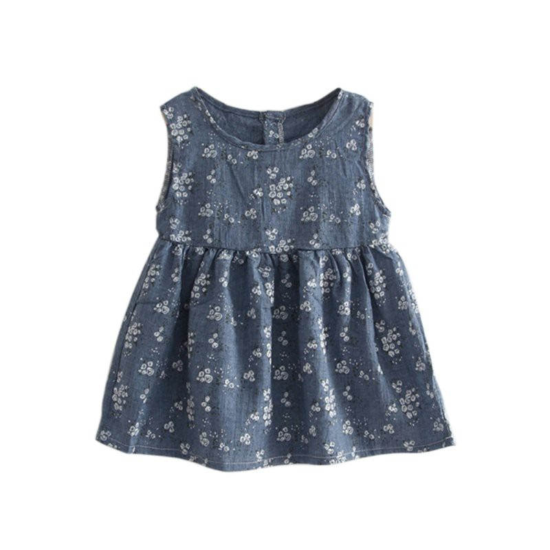 Princess O-Neck Clothes A-line Mini Dress Summer 2017 Baby Girls Dresses Printed Floral Sleeveless Clothing 2 Colors Cute Style