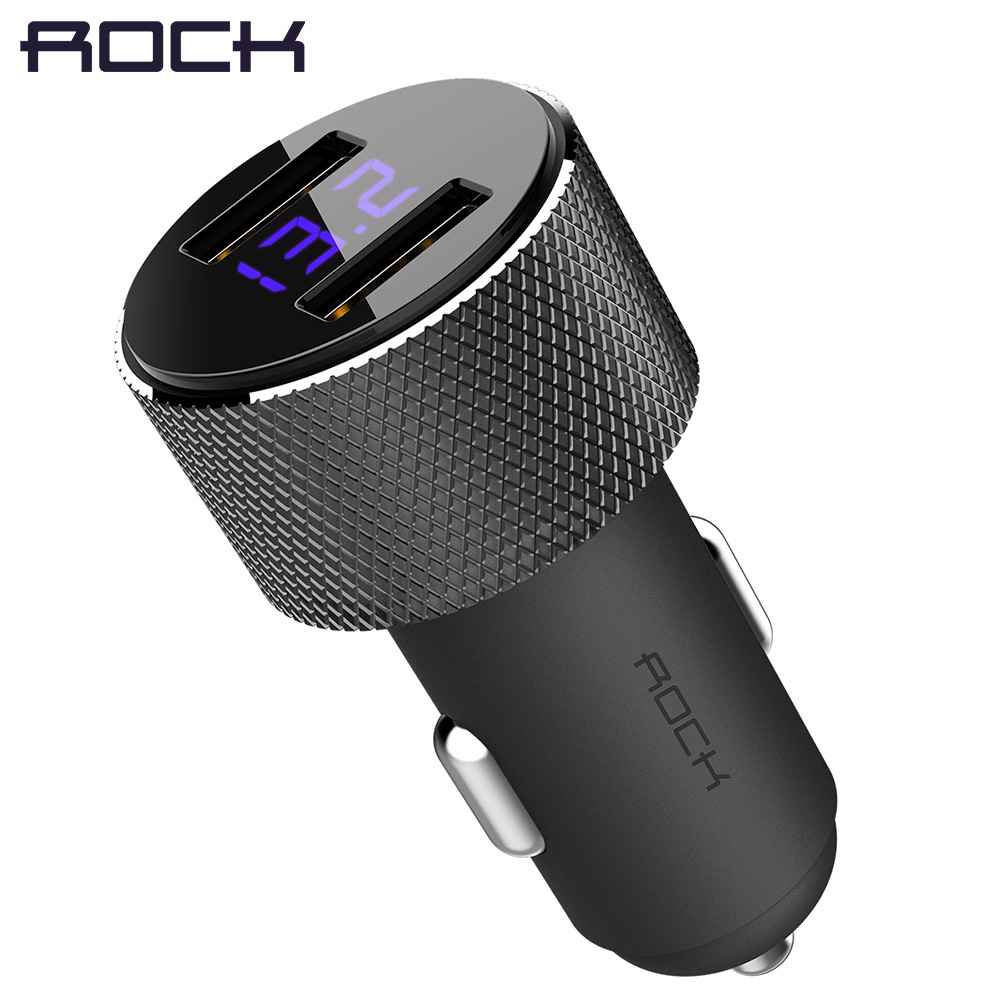 ROCK LCD Digital Display Dual USB Car-Charger, Universal 3.4A LED 2 USB Car Charger adapter for Mobile Phones for Tablet PC
