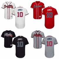 MLB Men S Atlanta Braves Chipper Jones White Home Authentic Collection Flex Base Player Jersey