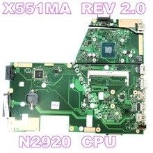 X551MA N2920 Процессор материнская плата версия 2,0 для ASUS D550M D550MA F551M X551M X551MA R512MA материнская плата для ноутбука 100% Протестировано
