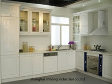 PVC/vinyl kitchen cabinet(LH-PV005) solid wood kitchen cabinet lh sw095